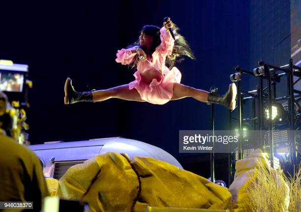 SZA performs onstage during the 2018 Coachella Valley Music And Arts Festival at the Empire Polo Field on April 13 2018 in Indio California