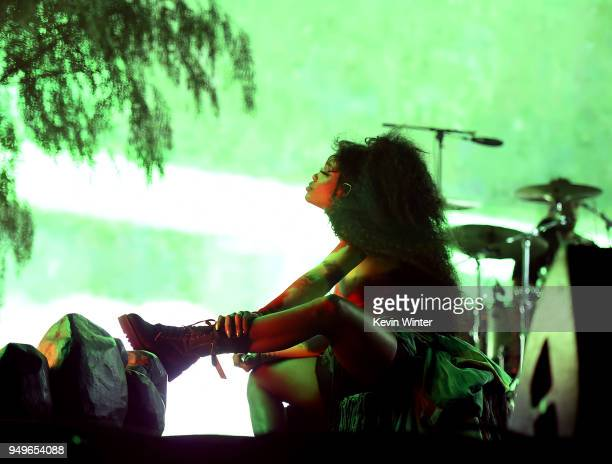 SZA performs onstage during the 2018 Coachella Valley Music And Arts Festival at the Empire Polo Field on April 20 2018 in Indio California