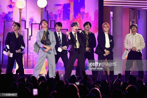 BTS performs onstage during the 2019 Billboard Music Awards at MGM Grand Garden Arena on May 1 2019 in Las Vegas Nevada