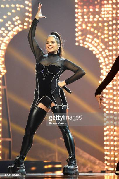 ROSALÍA performs onstage during the 2019 MTV Video Music Awards at Prudential Center on August 26 2019 in Newark New Jersey