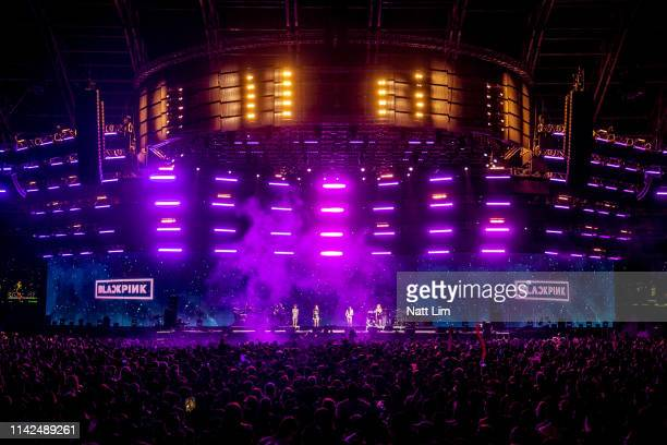 BLACKPINK performs onstage during Weekend 1 Day 1 of the 2019 Coachella Valley Music and Arts Festival on April 12 2019 in Indio California