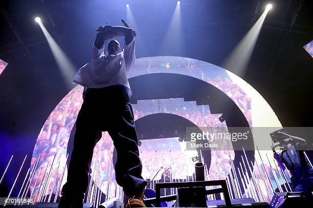 performs onstage with DJ Snake during day 1 of the 2015 Coachella Valley Music And Arts Festival at The Empire Polo Club on April 17 2015 in Indio...