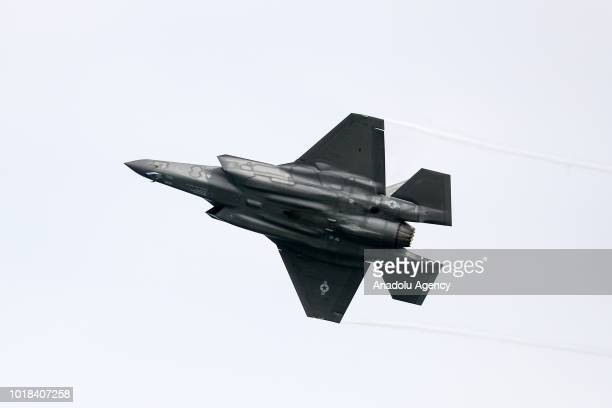 F35 performs over Lake Michigan during a realtime rehearsal for the 60th Chicago Air and Water Show in Chicago United States on August 17 2018...