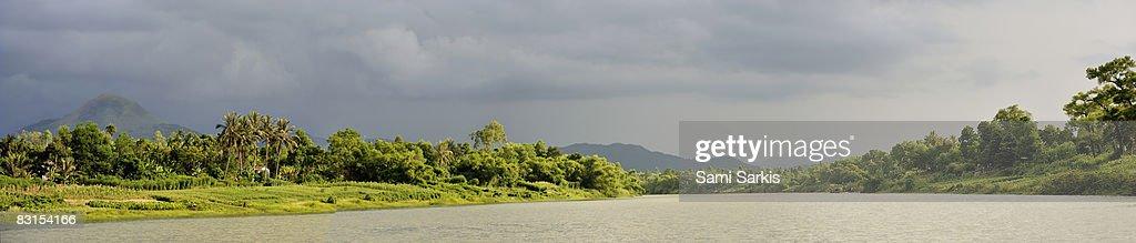 Perfume River at sunset, panoramic view : Stock Photo