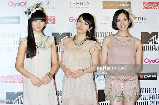 Perfume walks on the red carpet of the MTV Video Music Awards Japan 2012 at Makuhari Messe on June 23 2012 in Chiba Japan