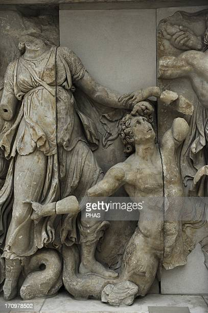 Pergamon Altar Built by order of Eumenes II Soter 164156 BC by artists of the school of Pergamon Marble and limestone Gigantomachy West frieze Detail...