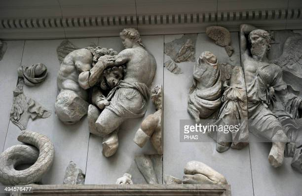 Pergamon Altar. Built by order of Eumenes II Soter. 164-156 BC by artists of the school of Pergamon. Marble and limestone. Gigantomachy: south...