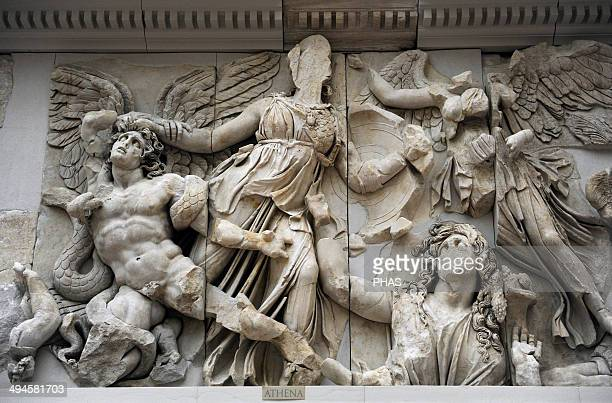 Pergamon Altar Built by order of Eumenes II Soter 164156 BC by artists of the school of Pergamon Marble and limestone East frieze Gigantomachy...