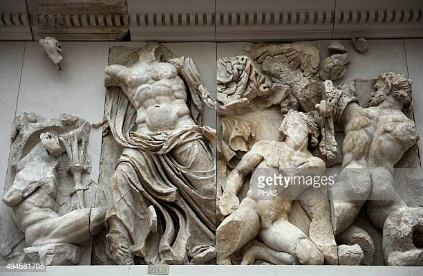 Pergamon Altar Built by order of Eumenes II Soter 164156 BC by artists of the school of Pergamon Marble and limestone East frieze Gigantomachy Zeus...