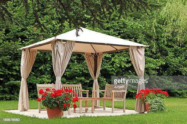 pergola in a garden - pavilion stock pictures, royalty-free photos & images