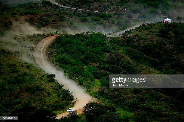 PerGunnar Andersson and Anders Fredriksson of Sweden in action during the second day of the Rally of Nations Mexico 2009 on July 11 2009 in Leon...