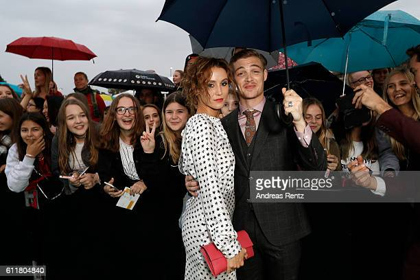 Peri Baumeister and David Schuetter pose with fans at the 'Unsere Zeit ist jetzt' premiere during the 12th Zurich Film Festival on October 1 2016 in...