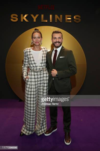 Peri Baumeister and Edin Hasanovic attend the premiere of the new Netflix series Skylines on September 25 2019 in Frankfurt am Main Germany