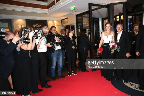 Peri Baumeister and Joachim Krol during the opening night of the Munich Film Festival 2018 reception at Hotel Bayerischer Hof on June 28 2018 in...