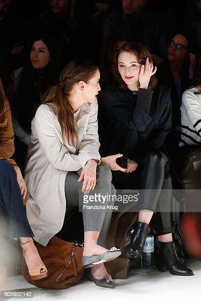 Peri Baumeister and Maria Ehrich attend the Laurel show during the MercedesBenz Fashion Week Berlin Autumn/Winter 2016 at Brandenburg Gate on January...
