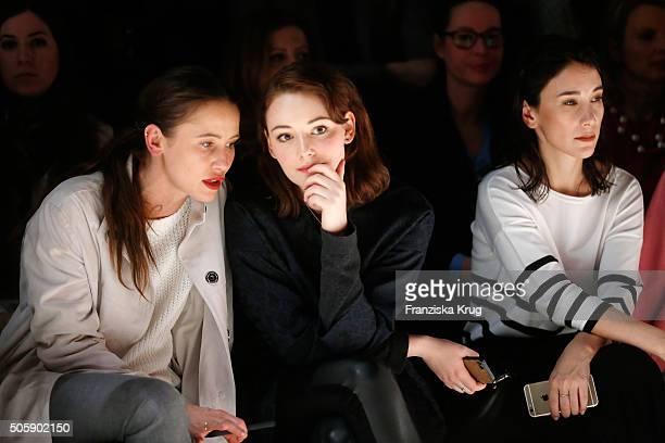 Peri Baumeister Maria Ehrich and Sibel Kekilli attend the Laurel show during the MercedesBenz Fashion Week Berlin Autumn/Winter 2016 at Brandenburg...