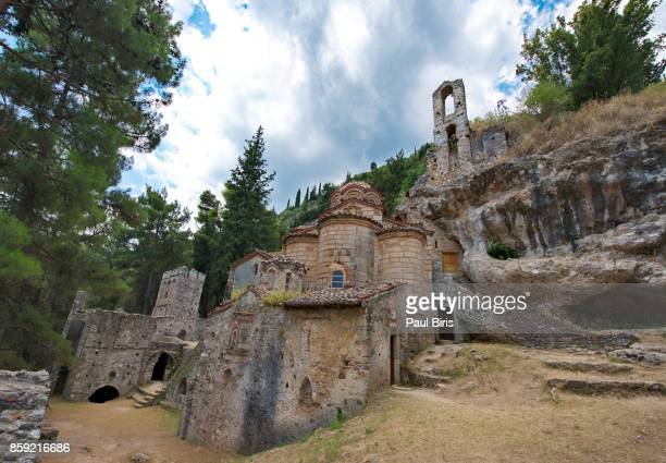 peribleptos monastery, at the medieval fortress of mystras, greece - sparta stock photos and pictures