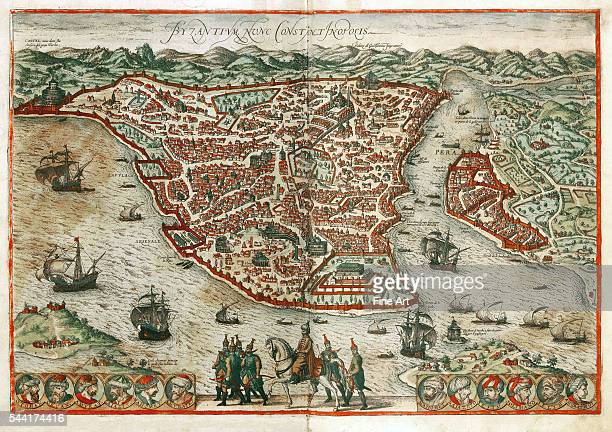 Period map of Byzantium and Constantinople from an atlas