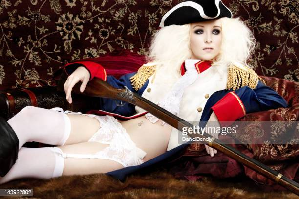 period military fashion - garter belts and stockings stock photos and pictures