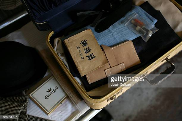 Period pieces are displayed on a bunk bed in the detention barracks at the Angel Island Immigration Station December 9 2008 on Angel Island in...
