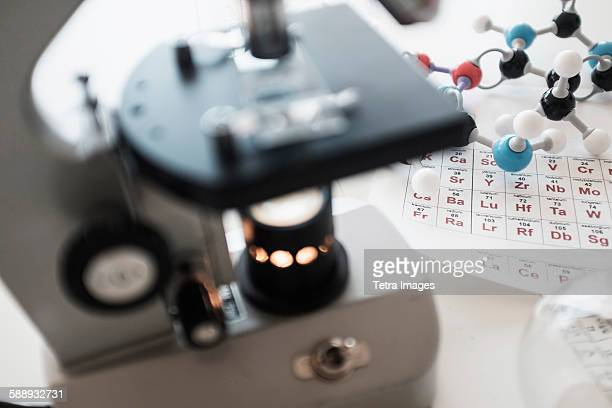 periodic table and microscope on desk - periodic table stock photos and pictures