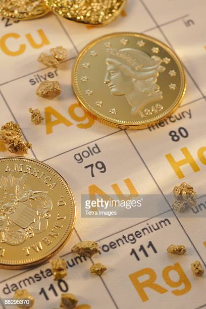 periodic table of elements and gold coins - periodic table stock pictures, royalty-free photos & images
