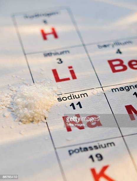 periodic table of elements and salt - periodic table stock photos and pictures