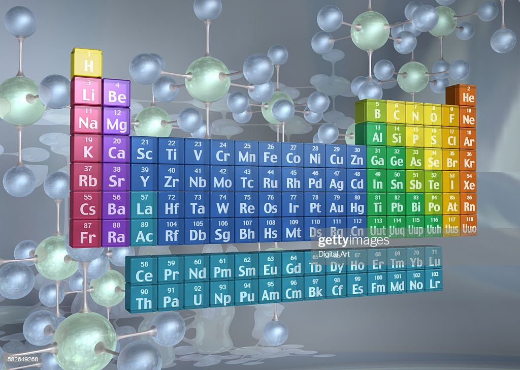 Periodic table of the elements and molecules : Stock Photo
