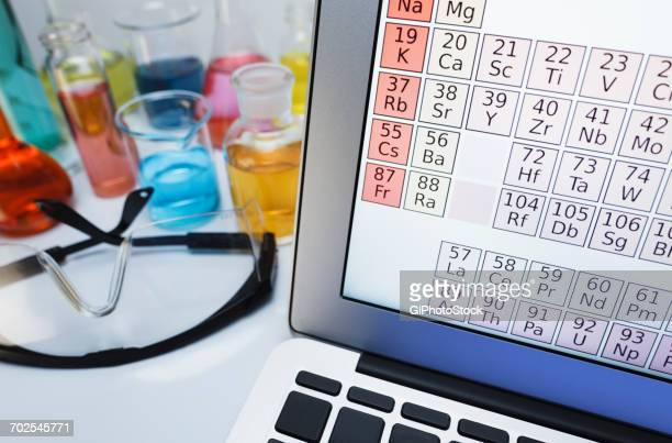 periodic table on laptop by flask of transitional metal salts - periodic table stock pictures, royalty-free photos & images