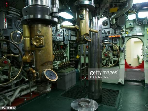Periscope in the control room of the BAP Abtao submarine of the Peruvian Navy The ship a Mackerel class submarine built by the Electric Boat Company...