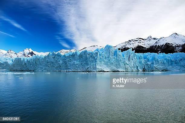 Perito Moreno glacier meets lake with Andes