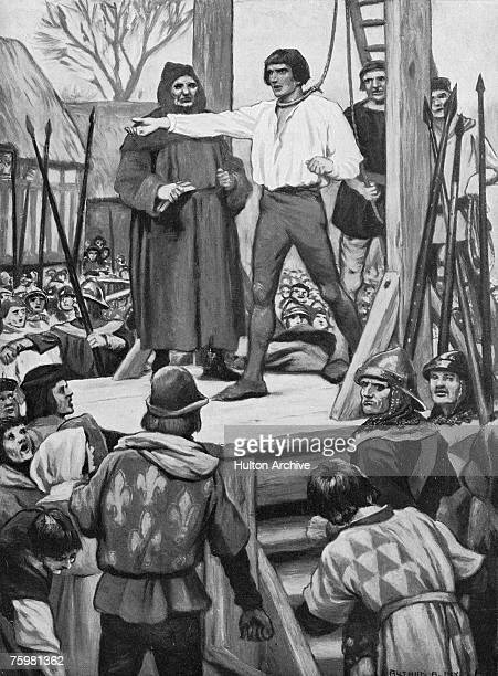 Perkin Warbeck , a pretender to the English throne, is executed as a traitor at Tyburn, 23rd November 1499. An illustration by Arthur A. Dixon.