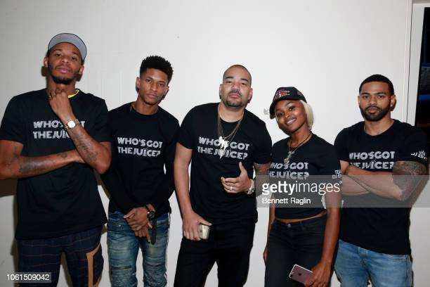 Perks Randy Bowden DJ Envy Azia Toussaint and Baggy Large attend Who's Got the Juice Hustle In Brooklyn on November 14 2018 in the Brooklyn borough...