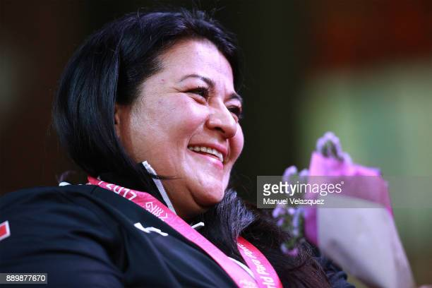 Perla Barcenas of Mexico celebrates during the Women's Over 86Kg Group A Category as part of the World Para Powerlifting Championships Mexico 2017 at...