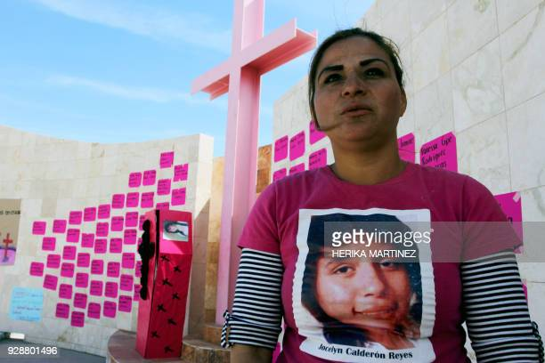 TOPSHOT Perla Reyes mother of Jocelyn Calderon Reyes who disappeared on December 30 2013 at the age of 13 attends a demonstration in homage to the...