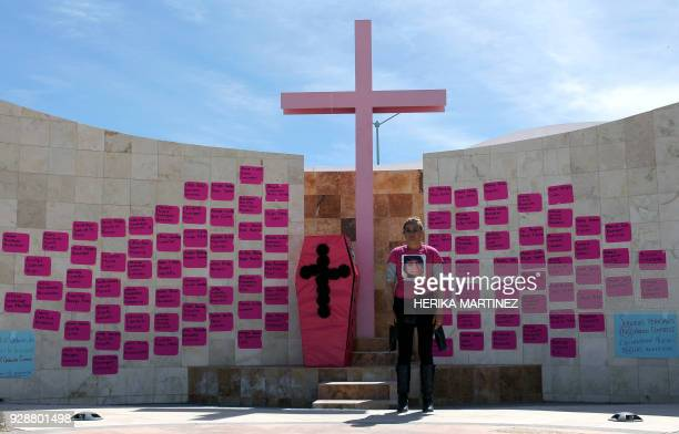 Perla Reyes mother of Jocelyn Calderon Reyes who disappeared on December 30 2013 at the age of 13 attends a demonstration in homage to the women...