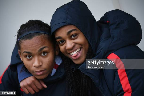 Perle Morroni and Marie Antoinette Katoto of PSG during the women's french league match between Paris Saint Germain PSG and As Saint Etienne on...