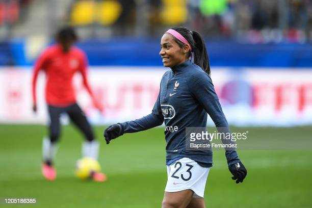 Perle MORRONI of France before the Tournoi de France International Women's soccer match between France and Canada on March 4 2020 in Calais France