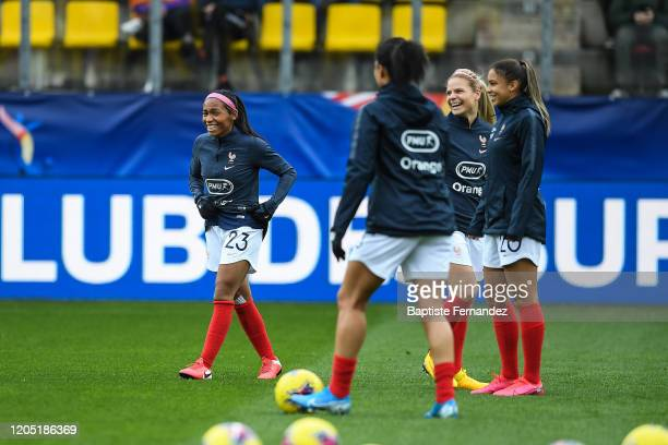 Perle MORRONI of France Eugenie LE SOMMER of France and Delphine CASCARINO of France before the Tournoi de France International Women's soccer match...