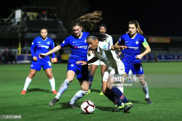 Perle Morroni of PSG goes past Hannah Blundell of Chelsea during the UEFA Women's Champions League Quarter Final First Leg match between Chelsea...