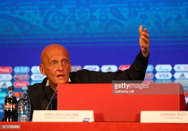 Perluigi Collina Chairman of FIFA referees committee during a press conference on Referees Media Day at Luzhniki Stadium on June 12 2018 in Moscow...