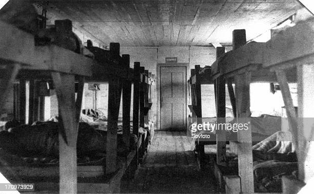 Perm siberia ussr 1943 interior of barracks for prisoners working at panyshevsky corrective labor camp working on panyshevsky electric station