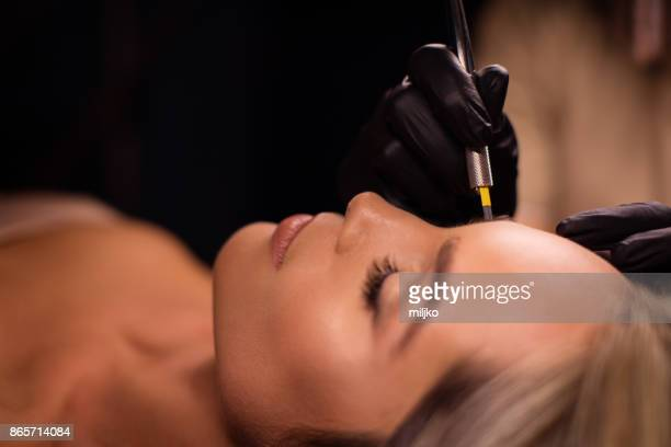 permanent make up treatment - eyebrow stock pictures, royalty-free photos & images