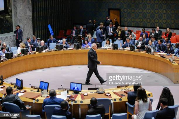 Permanent Observer of Palestine to the United Nations Riyad Mansour attends the UN Security Council emergency session on IsraelGaza conflict at...
