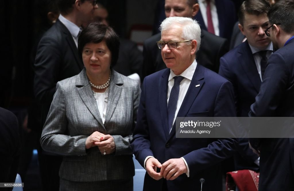 Permanent Representative of Poland to the United Nations, Joanna Wronecka (L) and Polish Foreign Minister Jacek Czaputowicz (R) attend the United Nations Security Council meeting in New York, United States on February 21, 2018.