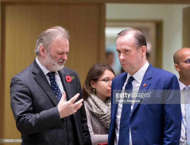 Permanent Representative of the United Kingdom to the European Union Sir Timothy Earle Barrow KCMG LVO MBE talks with British Minister of State for...