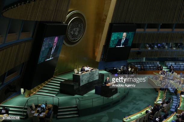 Permanent Representative of Turkey to the United Nations Feridun Hadi Sinirlioglu speaks ahead of a voting session to condemn Israeli actions in Gaza...