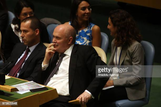 Permanent Representative of Turkey to the United Nations Feridun Hadi Sinirlioglu attends a voting session to condemn Israeli actions in Gaza in the...