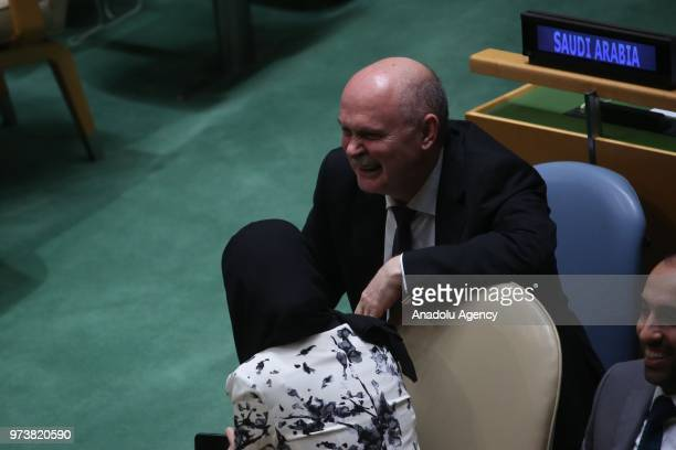 Permanent Representative of Turkey to the United Nations Feridun Hadi Sinirlioglu gestures after a voting session to condemn Israeli actions in Gaza...