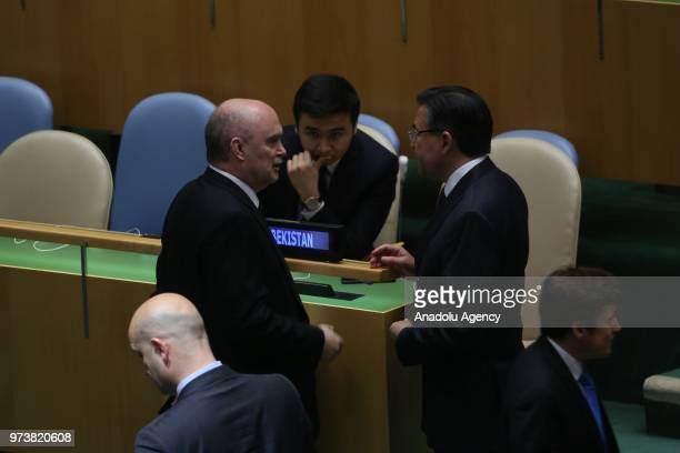 Permanent Representative of Turkey to the United Nations Feridun Hadi Sinirlioglu chats with delegations after a voting session to condemn Israeli...